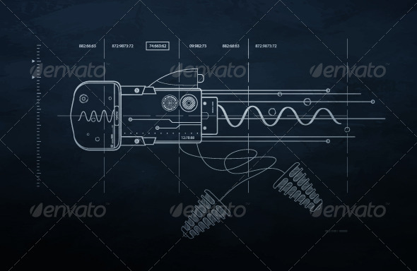 Drawing mechanism on a dark background.  - Abstract Conceptual