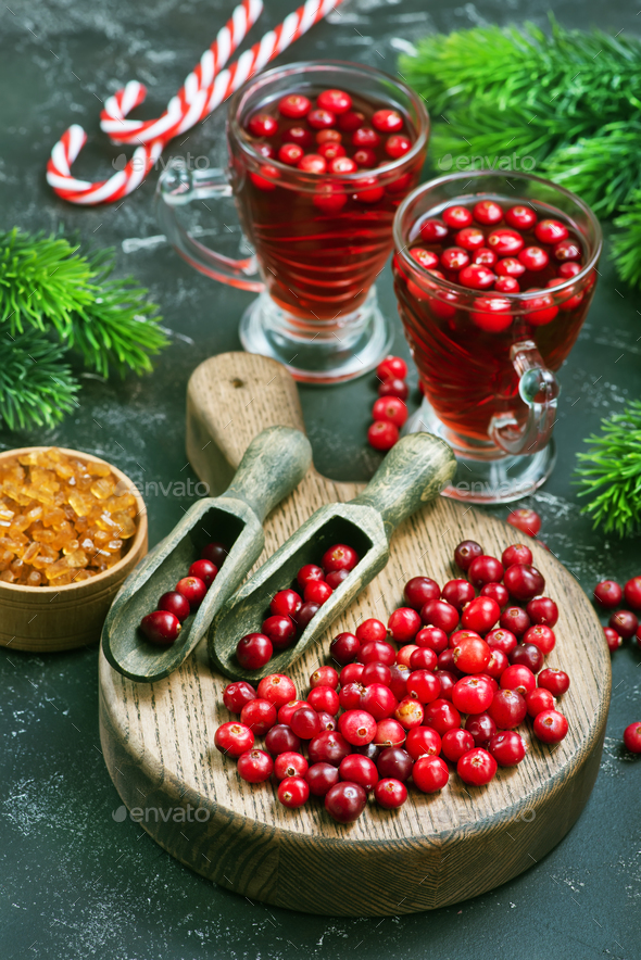 cranberry drink and berries - Stock Photo - Images