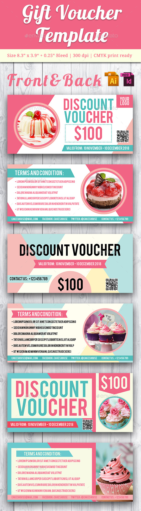 Gift Voucher Template - Vol. 5 - Cards & Invites Print Templates