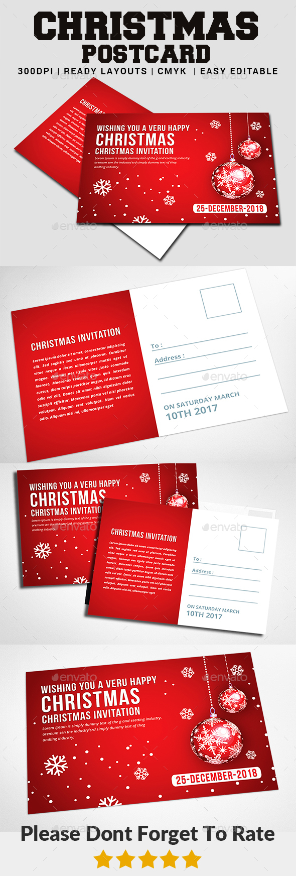 Christmas - Postcard Templates - Christmas Greeting Cards