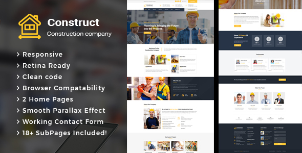 Construct - Construction Building Company HTML Template - Business Corporate