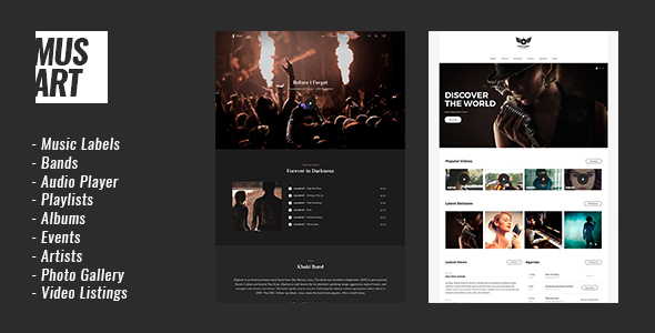 Musart - Music Label and Artists WordPress Theme