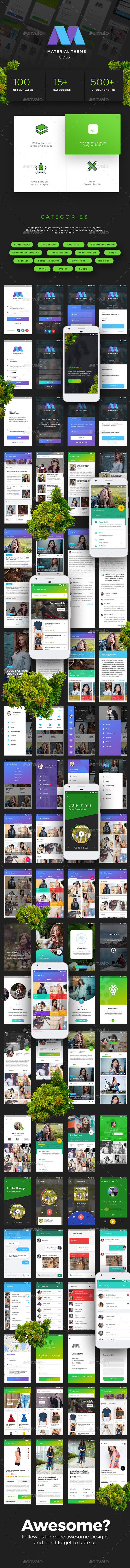 Material Design Theme UX/UI Kit  by Opus Labs - User Interfaces Web Elements