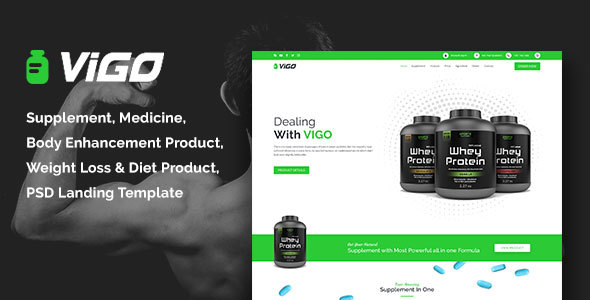VIGO-Health Supplement Landing Page PSD Template - Health & Beauty Retail