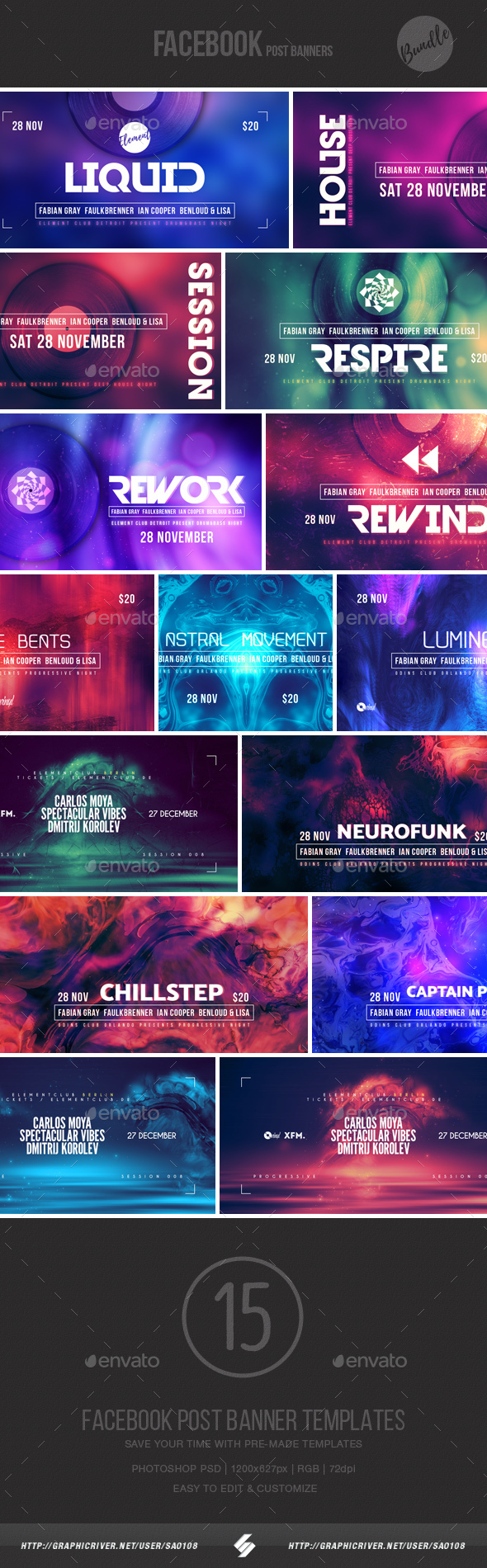 Electronic Music Event Facebook Post Banner Templates Bundle 7 - Social Media Web Elements