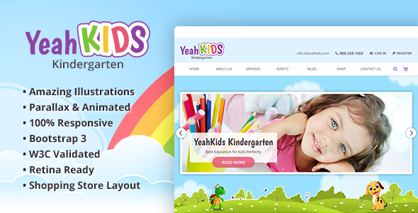 Yeah Kids – Children & Kindergarten HTML Template            nulled