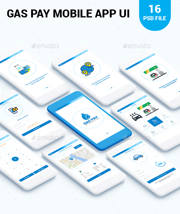 GraphicRiver Gas Pay Mobile app UI 20890679