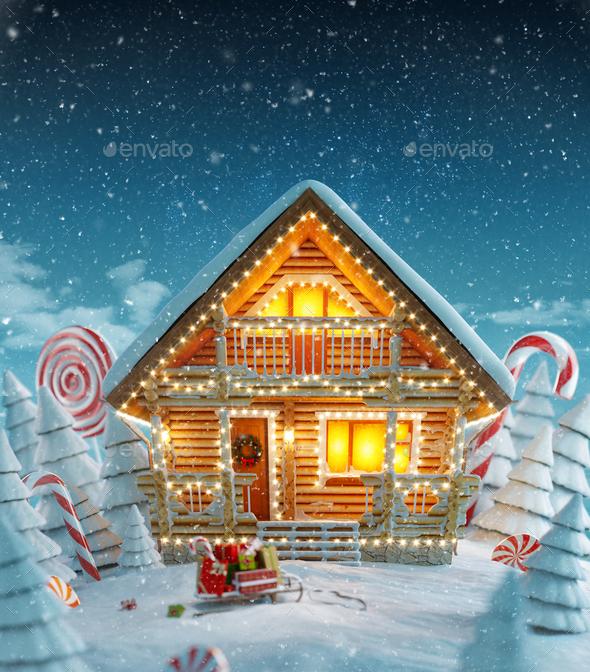 Amazing Decorated log house - Stock Photo - Images