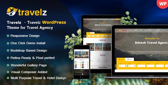 Image of Travelz - Travel WordPress Theme for Tour Agency