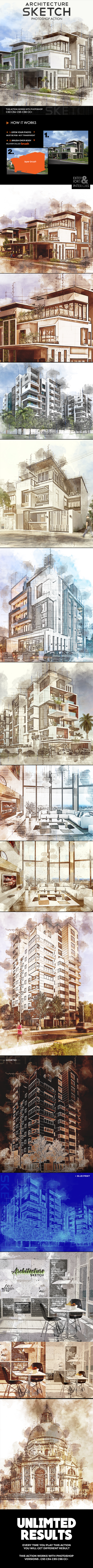 GraphicRiver Architecture Sketch Photoshop Action 20891106