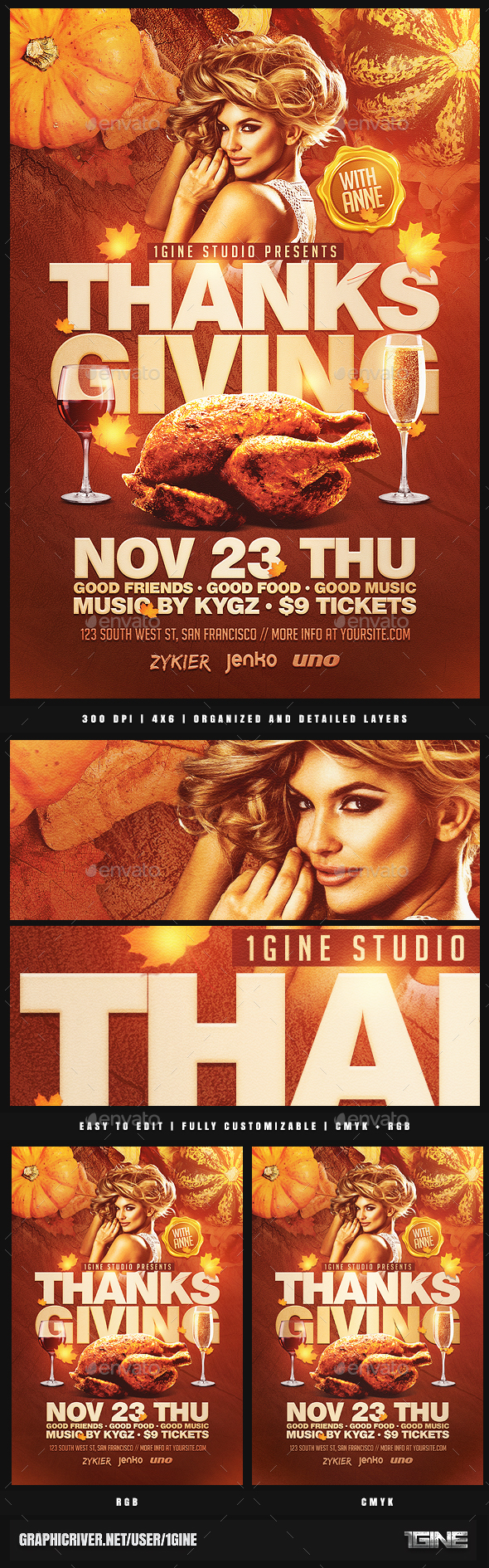 Thanksgiving Party Flyer Template 3 - Clubs & Parties Events