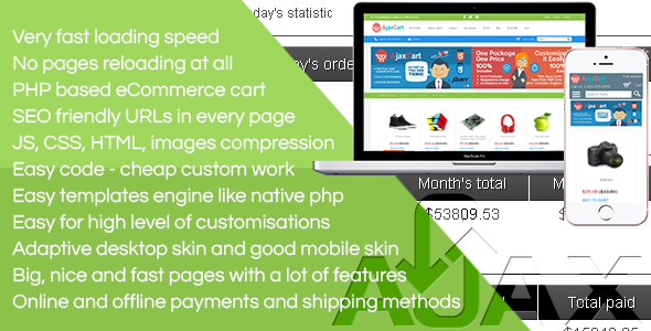 Ajax Cart the CMS - no page reloading at all. Super fast. A lot of features. Adaptive/mobile skin - CodeCanyon Item for Sale