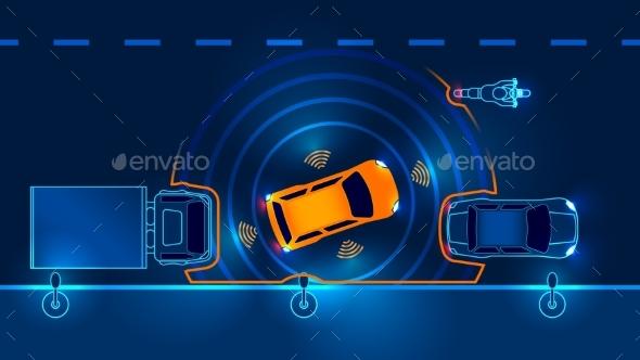 GraphicRiver Autonomous Car Leaves Parking Space Driverless 20891638