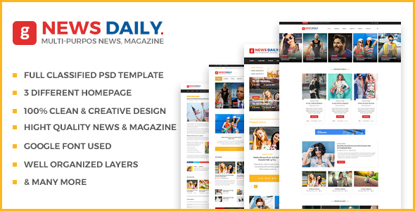 News Daily - Multipurpose Blog, News & Magazine PSD Template - PSD Templates