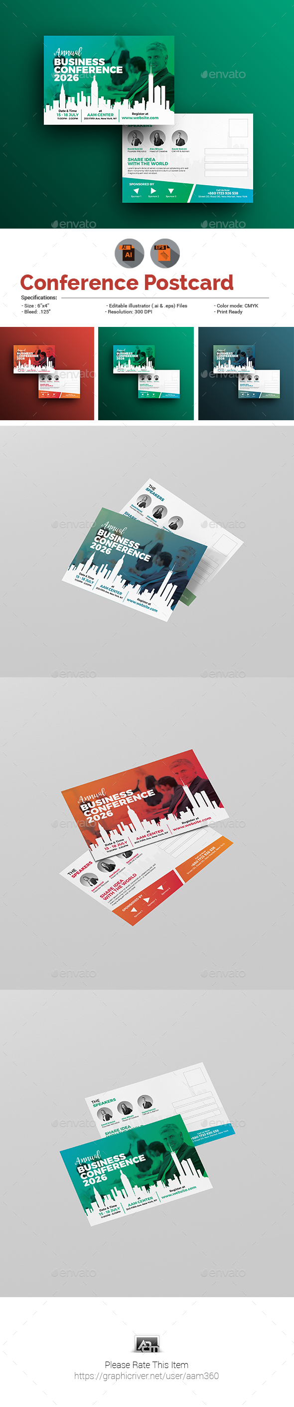 Business Conference or Event Postcard - Cards & Invites Print Templates
