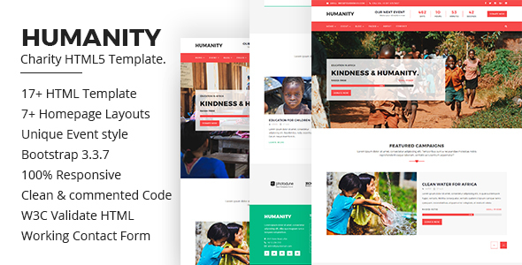 ThemeForest Humanity Charity HTML5 Bootstrap Template 20711421