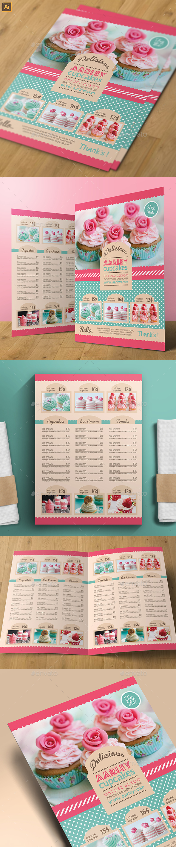 Pastry / Cake Menu - Food Menus Print Templates