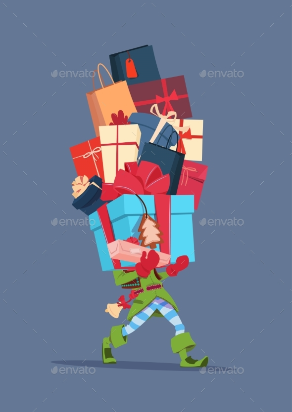 GraphicRiver Elf Holding Gift Boxes Stack Over Gray Background 20893462