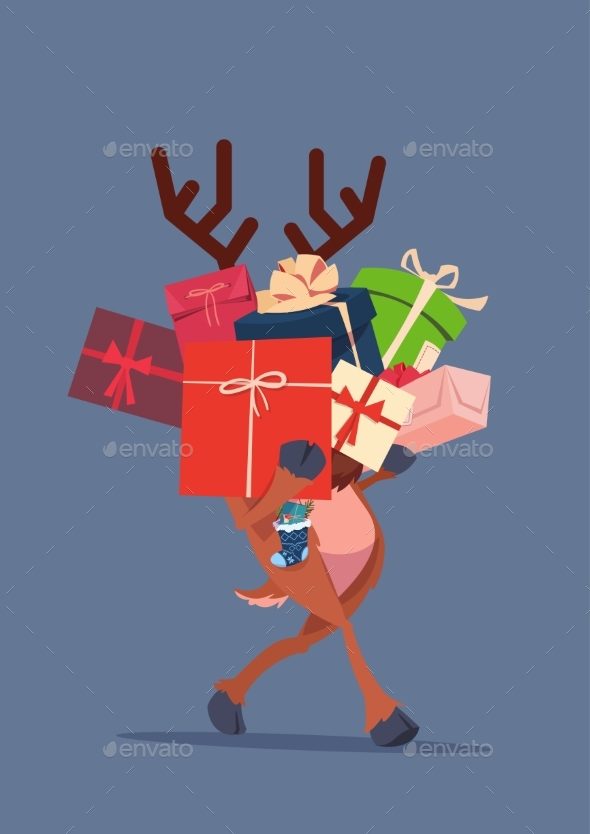 Elf Holding Gift Boxes Stack Over Gray Background - Miscellaneous Vectors