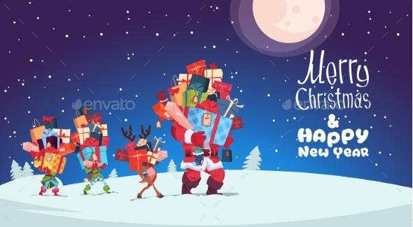 Happy New Year Card With Elves, Reindeer And Santa - Miscellaneous Vectors