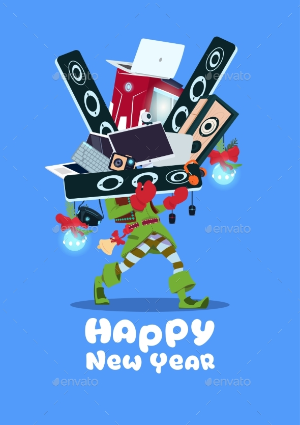 Santa Claus Holding Pile Of Modern Electronics - Miscellaneous Vectors