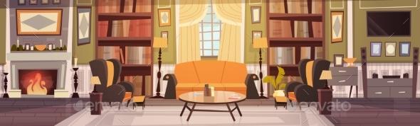 GraphicRiver Cozy Living Room Interior Design With Furniture 20893496
