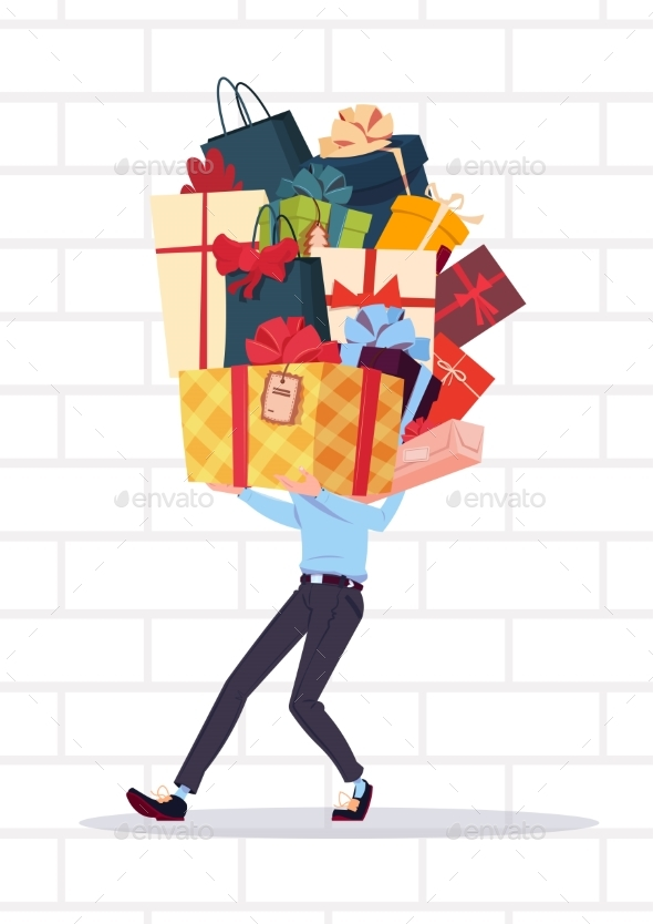 GraphicRiver Man Holding Gift Boxes Stack Over White Brick Wall 20893524