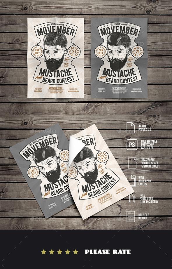 Vintage Hipster Barbershop Flyer - Events Flyers
