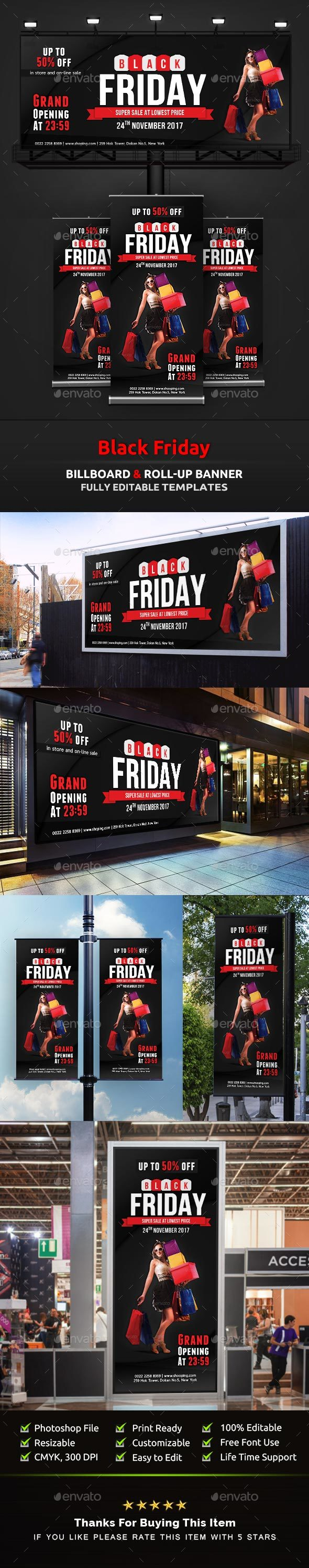 Black Friday Billboard | Black Friday Roll-Up Banner Templates - Signage Print Templates