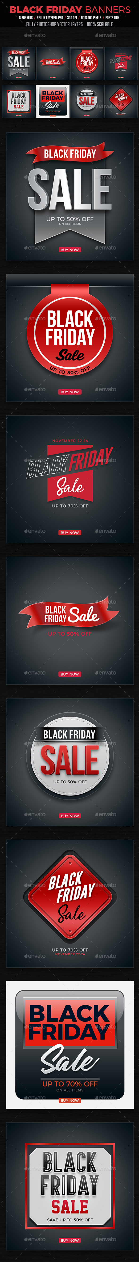 Black Friday Banners - Badges & Stickers Web Elements
