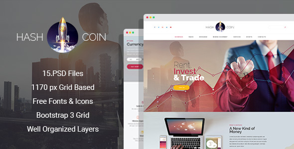 HashCoin - Bitcoin PSD template - Business Corporate