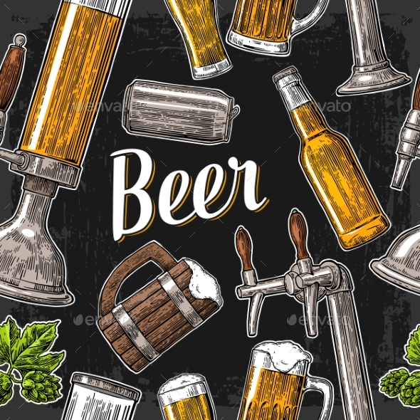 GraphicRiver Seamless Pattern of Beer 20894098