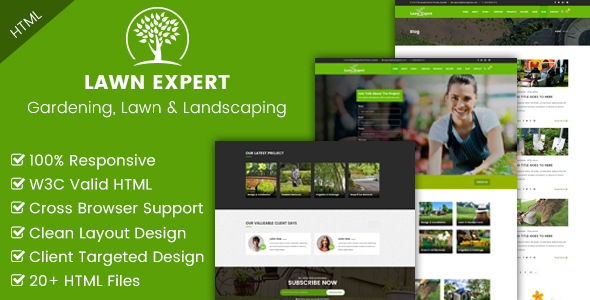 Lawn Expert - Gardening, Lawn and Landscaping HTML Template - Business Corporate