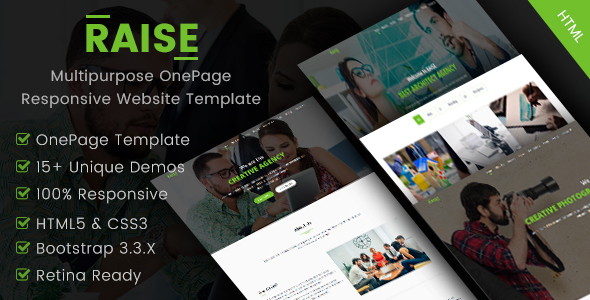 RAISE - Multipurpose OnePage Responsive Website Template - Corporate Site Templates