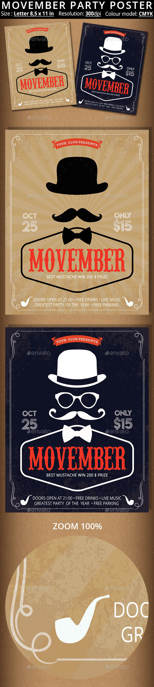 GraphicRiver Movember Party Poster 20894448