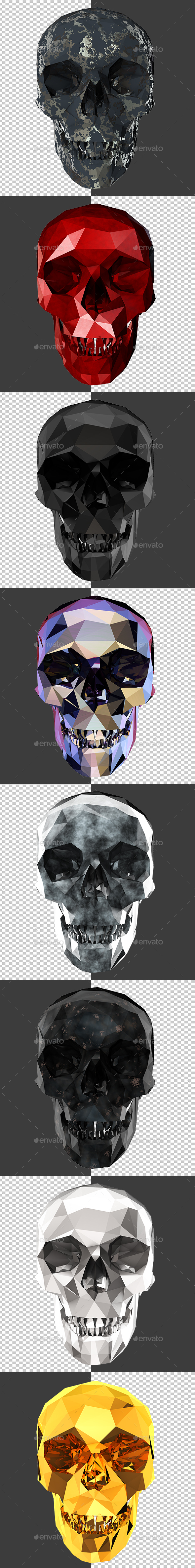 Skull Low Poly - Characters 3D Renders