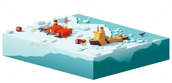 GraphicRiver Low Poly Polar Station and Icebreaker 20894577