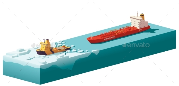 Vector Low Poly Icebreaker Breaking the Ice - Man-made Objects Objects