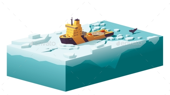GraphicRiver Vector Low Poly Icebreaker Breaking the Ice 20894590