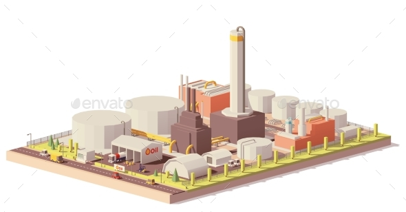 Vector Low Poly Oil Refinery Plant - Man-made Objects Objects