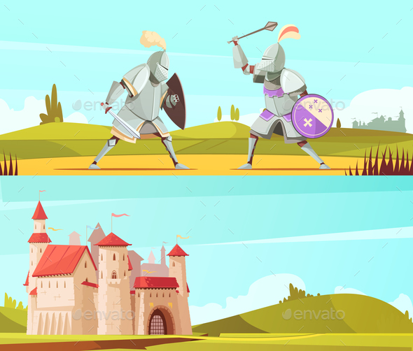 GraphicRiver Medieval Horizontal Cartoon Banners Set 20894664