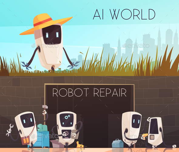 GraphicRiver Robots Repair Horizontal Banners Set 20894667
