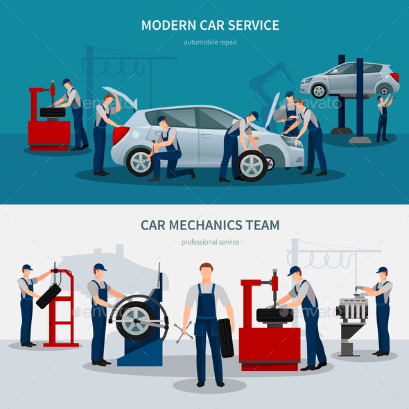 GraphicRiver Car Service Banners Set 20894673