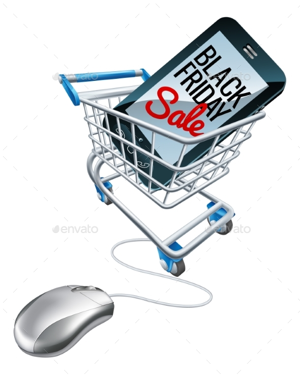 Black Friday Sale Phone Trolley Mouse Sign - Miscellaneous Vectors