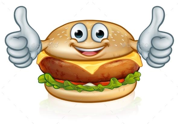 GraphicRiver Burger Food Mascot Cartoon Character 20894690
