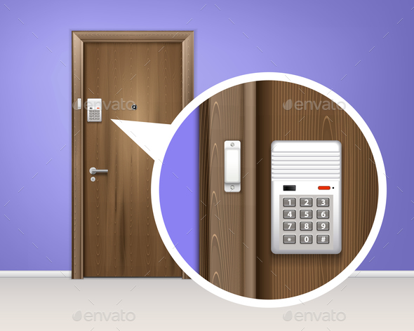 Door Alarm System Realistic Composition - Miscellaneous Vectors