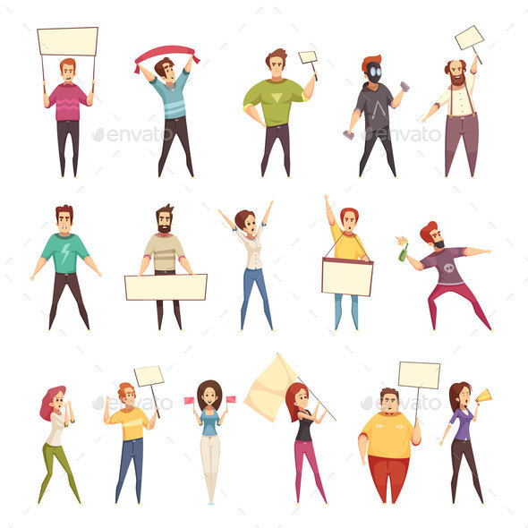 GraphicRiver Protesting People Decorative Icons Set 20894698