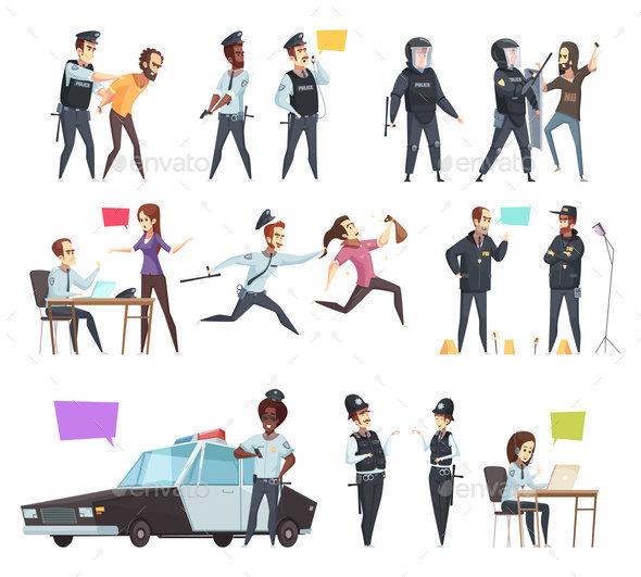Policemen In Work Cartoon Set - Miscellaneous Vectors