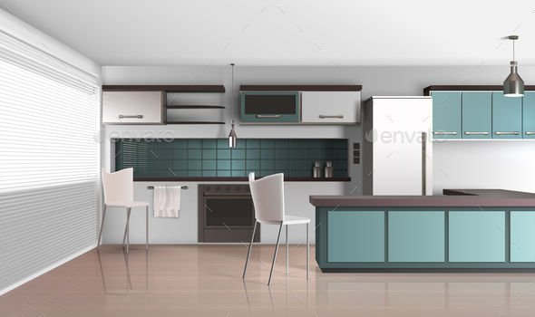 Daylight Kitchen Interior Composition - Miscellaneous Vectors