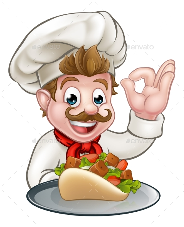 Cartoon Chef with Kebab - Food Objects